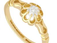 0.33ct Diamond & 18ct Yellow Gold Solitaire Ring - Antique 1912 (3 of 9)