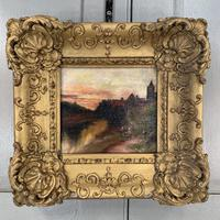 Antique Victorian signed oil painting river landscape at sunset in gesso frame (4 of 8)