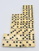 Antique 19th Century Bone & Ebony Double-Six Dominoes W/brass Pins - Complete Set of 28 (8 of 8)