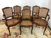 Vintage French Set of 6 Cherrywood Bergère Cane Dining Chairs with Carvers (13 of 14)