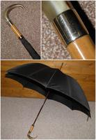 Vintage M.P 9 Carat Rolled Gold Gents Walking Length Umbrella with Black Canopy