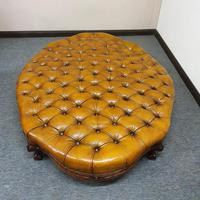 Deep Buttoned Leather Rosewood Stool (6 of 8)