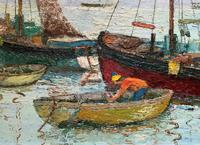 Marion Coker Leigh on Sea Fishing Boats Seascape Sailing Oil Painting (5 of 15)