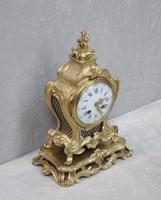 French Rococo Style Bronze Gilt Mantel Clock (6 of 9)
