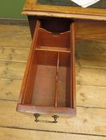 Antique Writing Table with Drawers and Aged Leather Top (19 of 19)