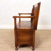 Oak Monks Bench Settle Carved Folding Hall Arts & Crafts (8 of 12)