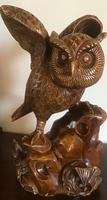 Large Hand Carved Wooden Owl (2 of 8)