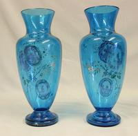 Pair of Antique Pale Blue Glass Decorated Vases (6 of 8)