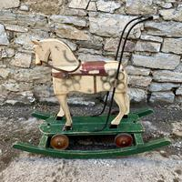Antique Wooden Push Along Rocking Horse Toy (2 of 19)
