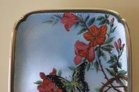 Antique Silver Guilloche Dish Painted with Butterfly & Flowers - 1911 (7 of 11)