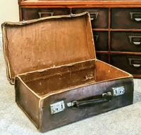 Antique 19th Century Small Brown Leather Suitcase (5 of 6)