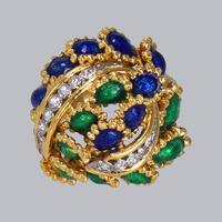 Vintage Diamond and Blue & Green Enamel Ring 18ct Gold Bombé Ring (13 of 21)