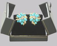 Vintage Julius Cohen Cluster Earrings Turquoise & Diamond 1960s Flower Earrings (3 of 12)