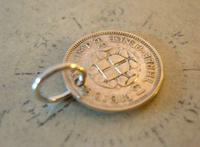 Vintage Pocket Watch Chain Fob 1939 WW2 Lucky Silver Three Pence Old 3d Coin Fob (5 of 5)