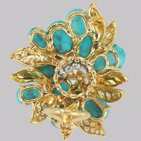 Vintage Julius Cohen Cluster Earrings Turquoise & Diamond 1960s Flower Earrings (10 of 12)