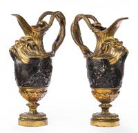 Pair of Late 18th Century Bronze and Gilt Bronze Ewers in the Manner of Clodion (7 of 7)