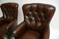 Pair of Antique Victorian Style Leather Armchairs (5 of 8)