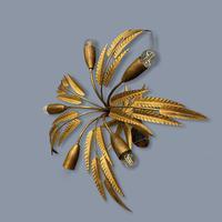 Spanish Ferro Art Gilt Palm Ceiling Light (3 of 11)