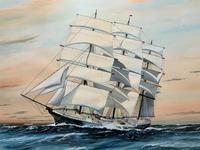 Awesome Tea Clipper Ship 'Hornet' Rough Seas Seascape Watercolour Painting c.1909 (4 of 12)