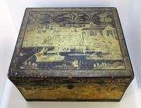 Rare Antique Chinese Lacquered Giltwood Large Tea Caddy Chest / Box / Casket with Pewter Liner c.1800 (2 of 16)