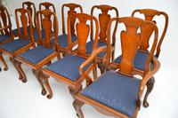 Set of 10 Antique Queen Anne Style Burr Walnut Dining Chairs (13 of 13)