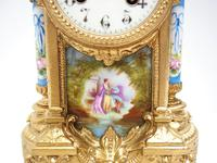 Wow! French Blue Sevres Mantel Clock 8 Day Striking Mantle Clock (8 of 12)