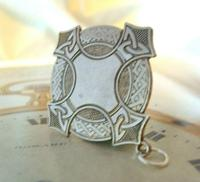 Vintage Pocket Watch Chain Fob 1940s Large Silver Chrome Celtic Shield Fob Nos (5 of 8)