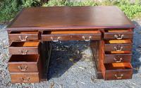 1960s Mahogany Pedestal Desk Brown Leather (2 of 5)