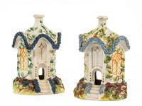 Pair of Staffordshire Pottery Pastille Burner in the Form of Houses (2 of 4)