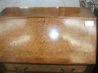 Three Drawer Burr Walnut Bureau (2 of 4)