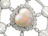 2.47ct Opal & 5.34ct Diamond, Platinum Pendant c.1940 (3 of 12)