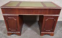 Reproduction Carved Mahogany Kneehole Pedestal Desk (7 of 11)