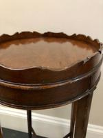 Small Antique  Wine or Candle Table With Galleried Top & Pull Out Shelf (11 of 13)