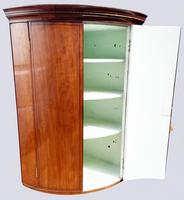 A Lovely George III Mahogany Bowfronted Hanging Wall Corner Cabinet (5 of 6)