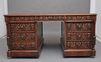 19th Century Carved Oak Partners Desk (4 of 17)