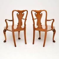 Pair of Antique Walnut Queen Anne Style Carver Armchairs (3 of 10)