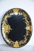 Black & Gilded Papier Mache Tray (5 of 10)