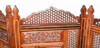 Antique Indian Folding Screen Inlaid Room Divider c.1920 (4 of 6)