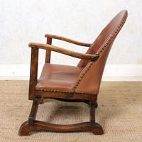 Carved Oak Leather Bucket Sofa & Chair (20 of 24)
