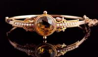 Antique Victorian Citrine & Pearl Bangle, 9ct Gold (3 of 14)