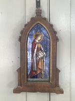 Antique Gothic Framed Enamel of St Elisabetha of Hungary Carrying Roses (2 of 11)