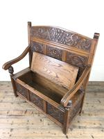 Victorian Carved Oak Settle or Hall Bench (9 of 16)