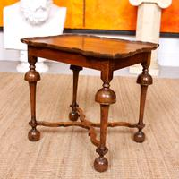 Walnut Side Table Continental Queen Anne Carved Lamp Table (7 of 12)