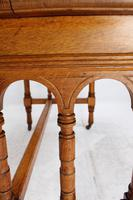 Victorian Gothic Revival Oak Dining Table / Stretcher Table (8 of 13)
