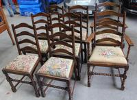 1920s Set 8 Bobbin Turned Oak Chairs in Floral Upholstery Pop out Seats