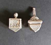 Two Sterling Silver Jewish Spinning Tops, Children's Game