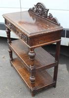 1920's Carved Oak Dumbwaiter with 2 Shelves (3 of 3)