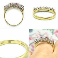 Vintage 18ct Ruby & Diamond seven stone ring ~ 40th wedding Anniversary (9 of 10)