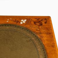 Victorian Walnut Marquetry Writing Table attributed to Edward Holmes Baldock (2 of 17)