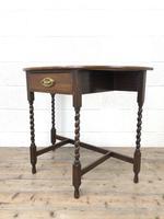Antique Oak Demi-lune Console Table (8 of 14)